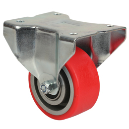 Wheel fixed with plate - Polyurethane - Aluminium rim (Free running) - For loads up to 350Kg -