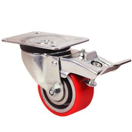 Pivoting wheel with double brake - Polyurethane - Aluminium rim (Free running) - For loads up to 350Kg -