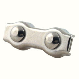 Cable clamp : Stainless steel - Dual bolt - Flat