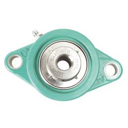 Flange bearing : Polymer and stainless steel - 2 fixing holes -