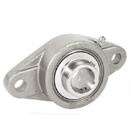 Flange bearing - Stainless steel - 2 fixing holes -