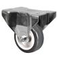 Roulette fixe à platine Acier - Caoutchouc gris