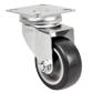 Roulette pivotante à platine Acier - Caoutchouc gris
