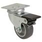 Roulette pivotante à double blocage Acier - Caoutchouc gris