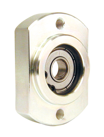 Flange with bearing - Bearing secured with circlips - Double flat -