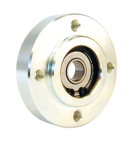 Flange with bearing - Bearing secured with circlips - Round -