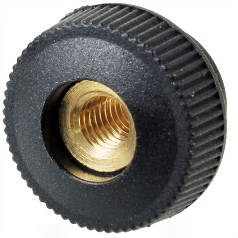 Knob for clamping - Knurled - through threaded - Female - Technopolymer, brass insert