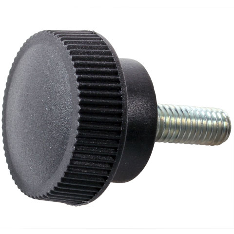 Knob for clamping - Knurled - Male - Technopolymer, steel stud