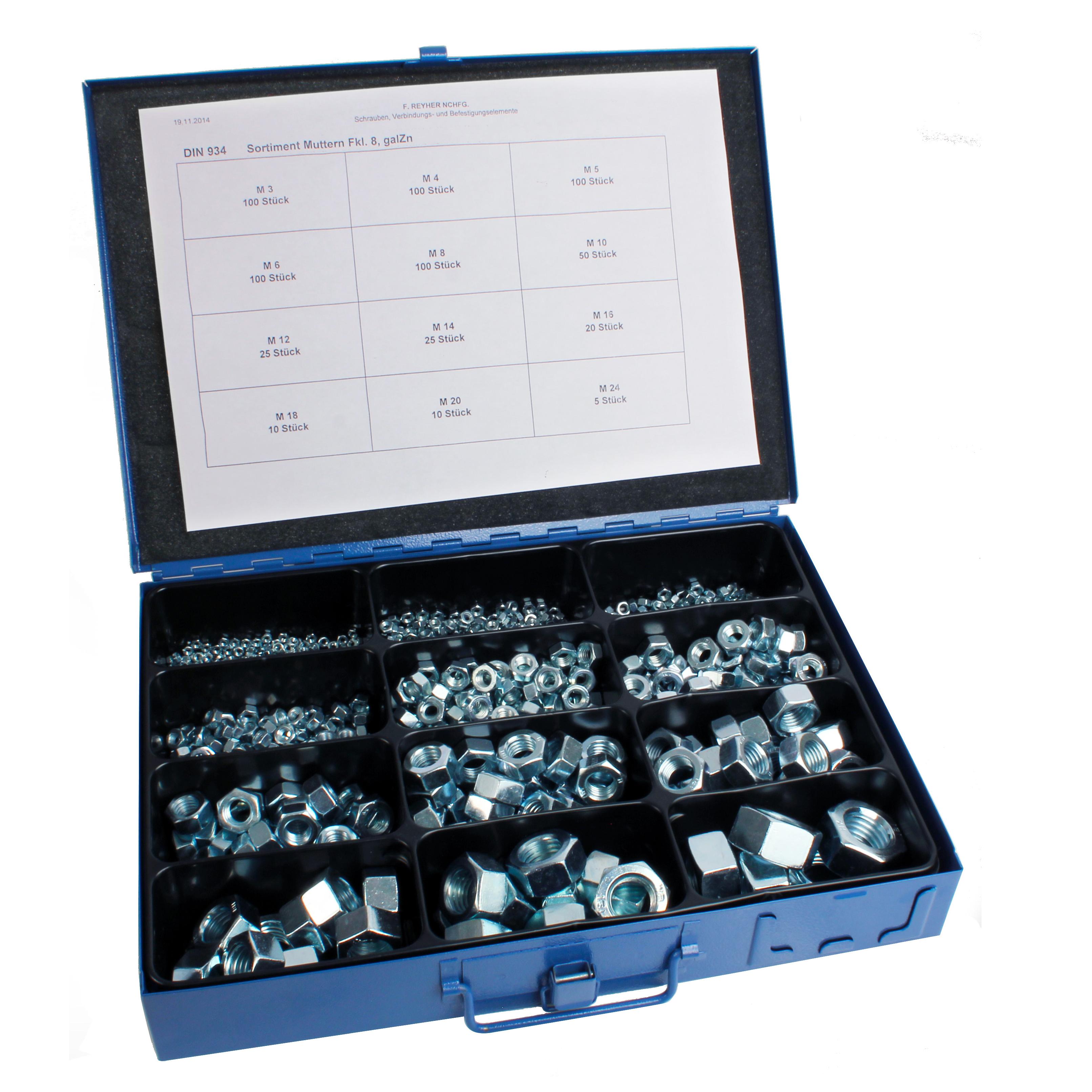 Dado esagonale - DIN 934 - Valigetta di dadi acciaio -  -