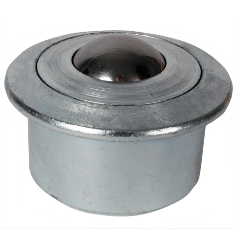 Ball transfer unit - High - Steel body, steel balls - Flush fitting with flange