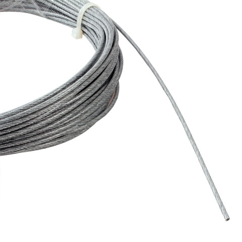 Aircraft cable - Galvanised steel with transparent PVC - 7x7 or 7x19 -
