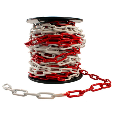 Warning chain with red and white links - Steel - Supplied by the box - Long links