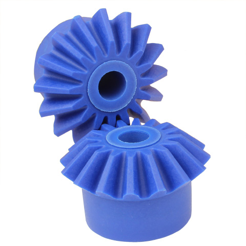 Moulded plastic bevel gear (blue nylon) - 1:1 - 2.00 - Food industry