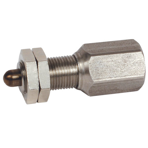 Spring operated plunger with pressure pin - With sensor adaptor - Positioning with built in position detection -