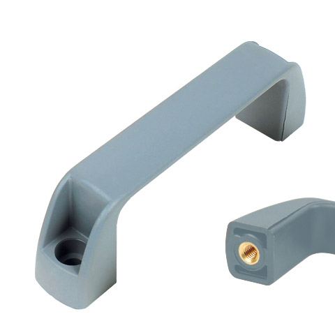Housing handle - Multi-sector - Tapped recessed insert - Grey (food industry) -