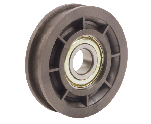 Tensioner pulley - For round belts - PA6 reinforced with 30% fibreglass - 5 000 rpm