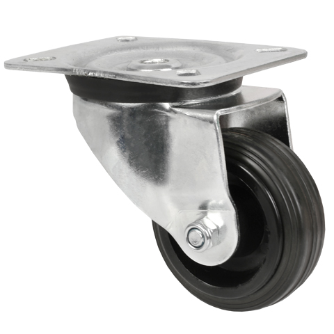 Wheel pivoting with plate - Steel - rubber - up to 215kg - No