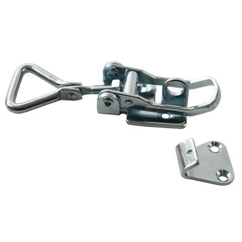 Adjustable latch clamp with catch-plate - Stroke from 118mm to 130,5mm - With padlock holder -