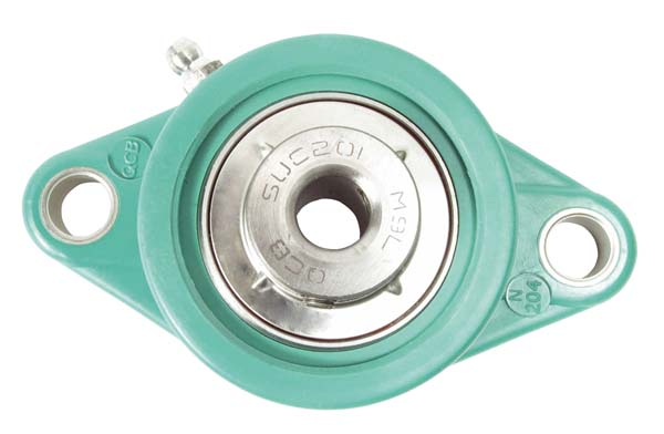Flange bearing - Polymer and stainless steel - 2 fixing holes - Green