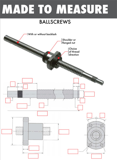 Custom made ballscrews
