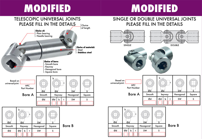 Custom made universal joints